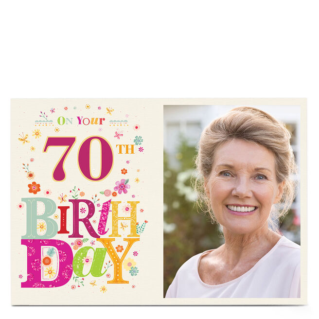 Photo Any Age Birthday Card - Colourful Flowers