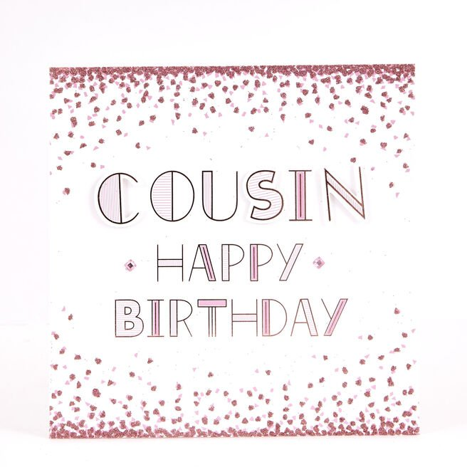 Boutique Collection Birthday Card - Cousin Glitter