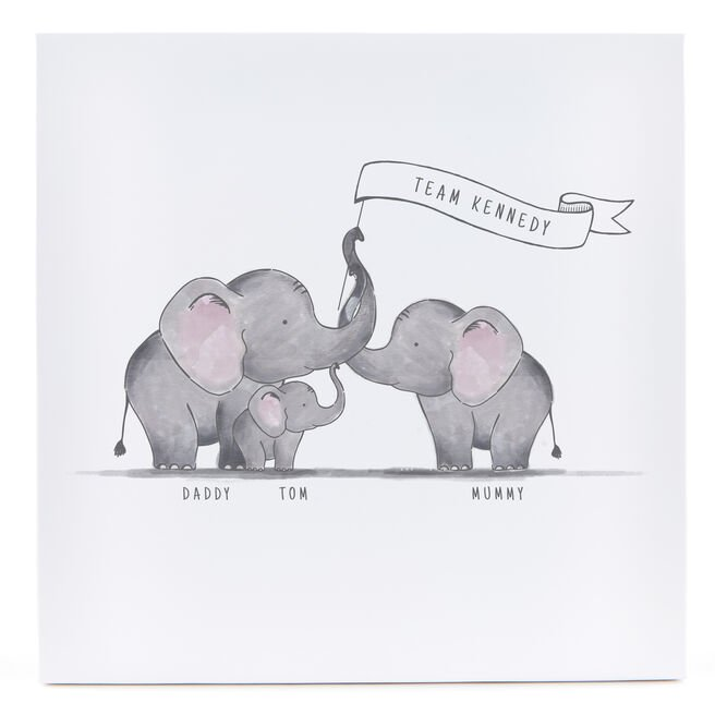 Personalised Canvas - 12x12 (Square) - Family Of Elephants