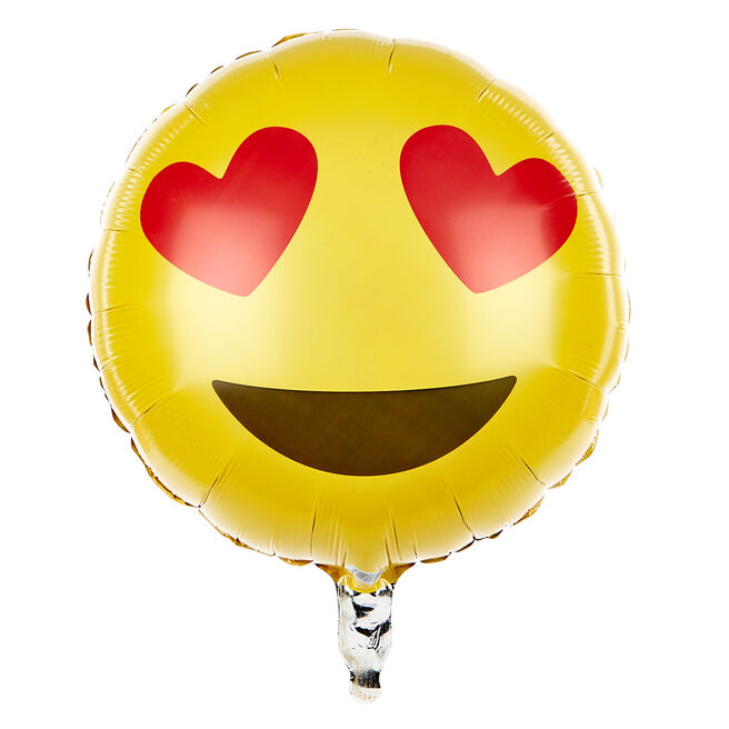 Heart Eyes Emoticon 13.5-Inch Foil Helium Balloon