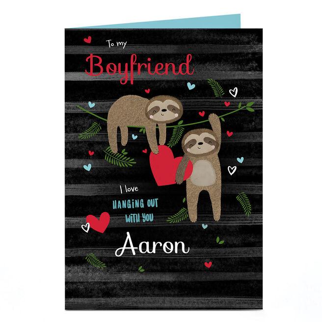 Personalised Valentine's Day Card - Boyfriend, Sloths