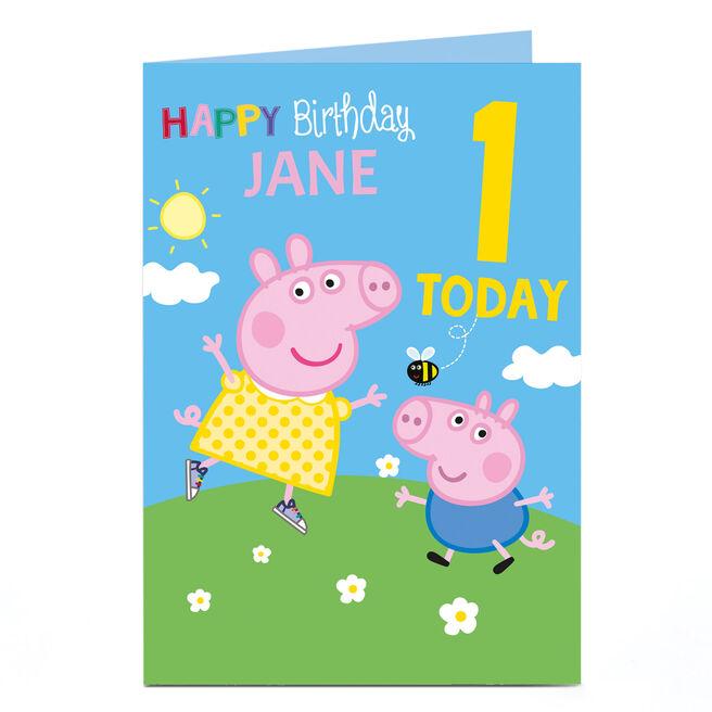 Personalised Editable Age Birthday Card - Peppa Pig