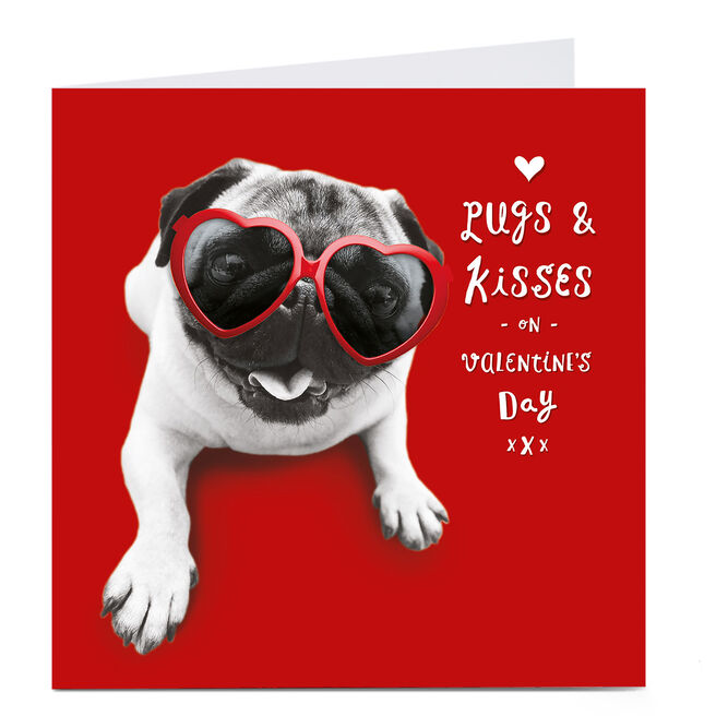 Personalised Valentines Card - Pugs And Kisses