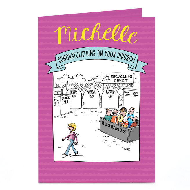Personalised Divorce Card - Husband Recyling Bin Comic