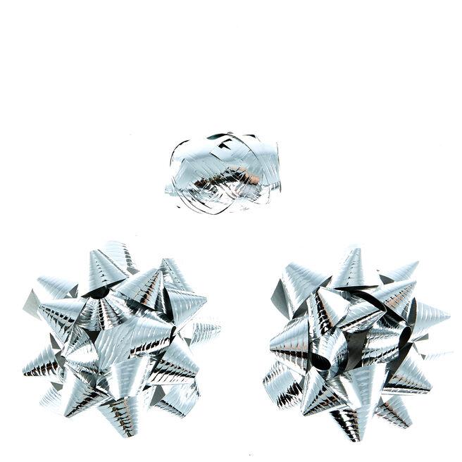 2 Silver Foil Bows & Curling Ribbon