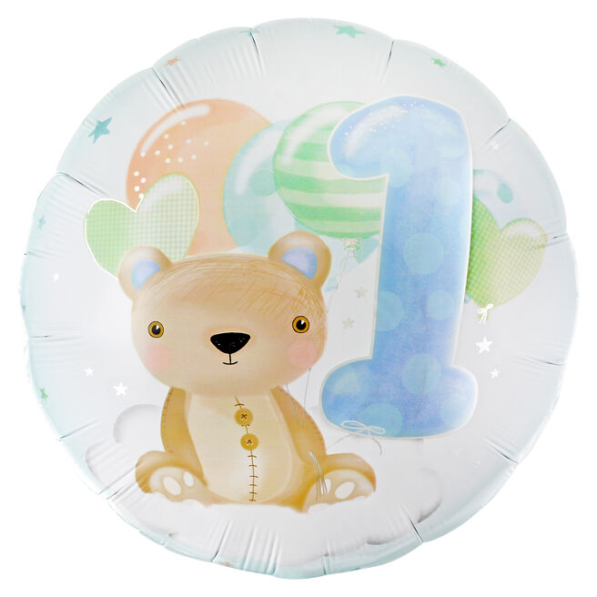 Cute Bear 1st Birthday 31-Inch Foil Helium Balloon - Blue