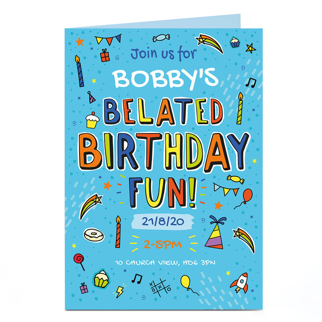 Personalised Birthday Invitation - Belated Party