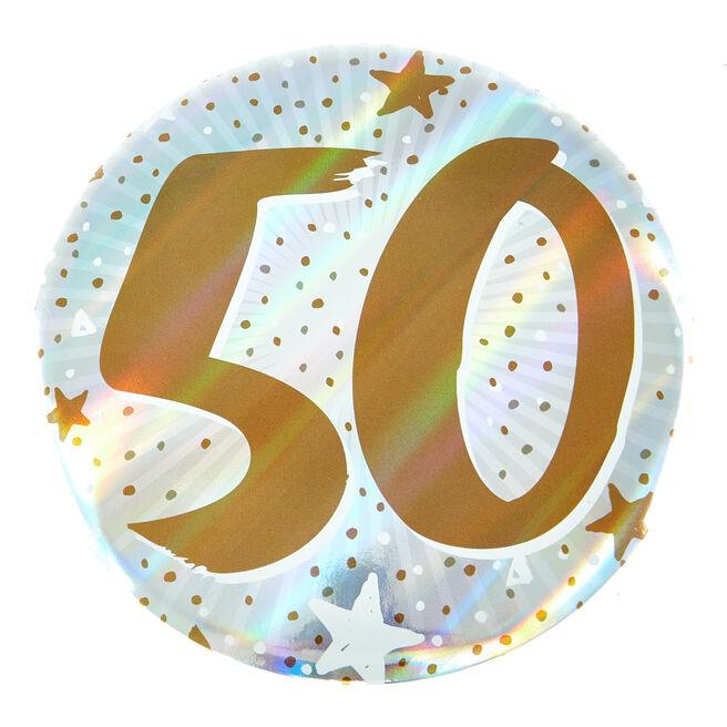 Giant 50th Birthday Badge - Blue