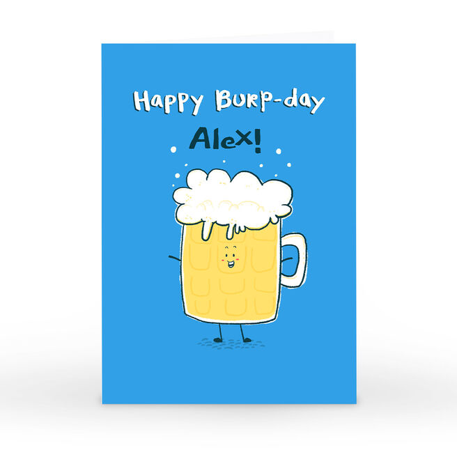 Hew Ma Personalised Birthday Card - Happy Burp-day!
