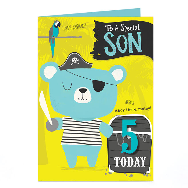 Personalised Any Age Birthday Card - Son, Pirate Bear