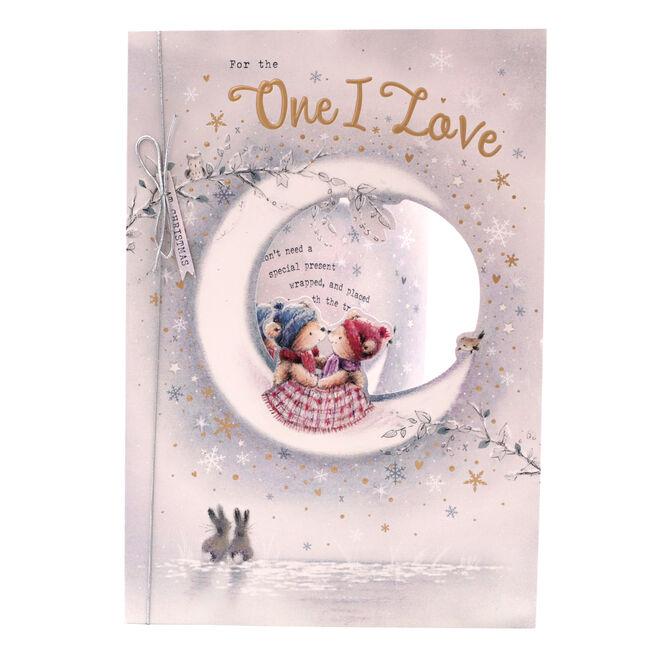 Christmas Card - One I Love, Cute Bears On The Moon