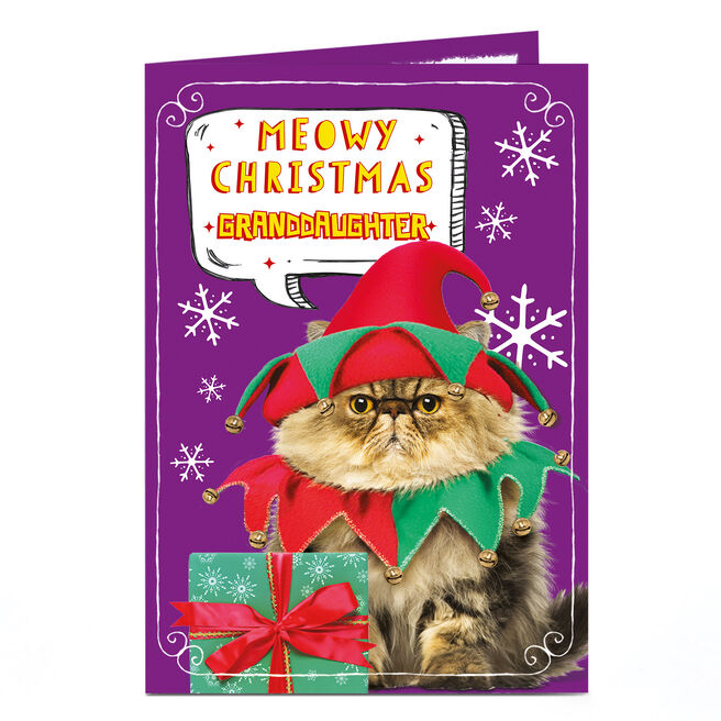 Personalised Christmas Card - Meowy Christmas Granddaughter