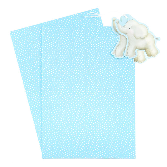 Blue & White Spotty Elephant Gift Wrap & Tag Set