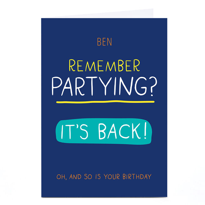 Personalised Banghead Card - Partying is Back