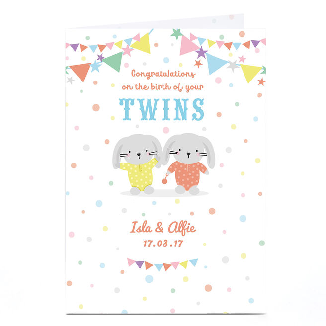 Personalised New Baby Card - Twin Bunnies