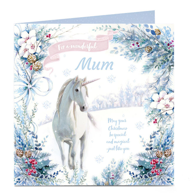 Personalised Christmas Card - Unicorn, Special & Magical, Mum