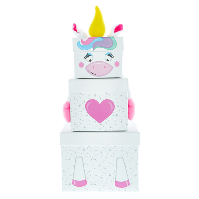 Stackable Plush Unicorn Gift Boxes - Pack Of 3