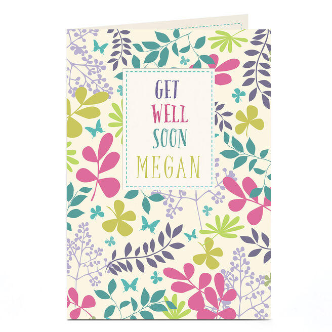 Personalised Get Well Soon Card - Leaves & Flowers