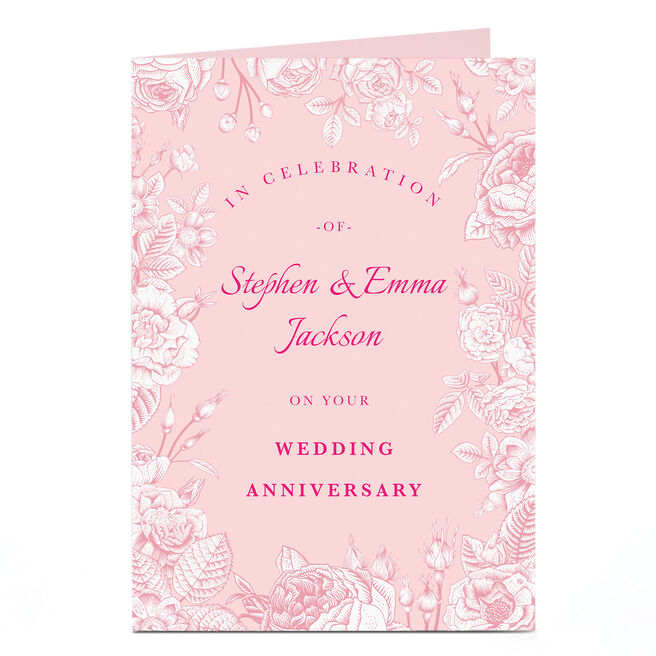 Personalised Anniversary Card - Pink on Pink