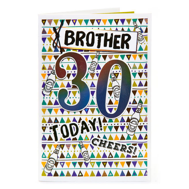 30th Birthday Card - Brother, Cheers!