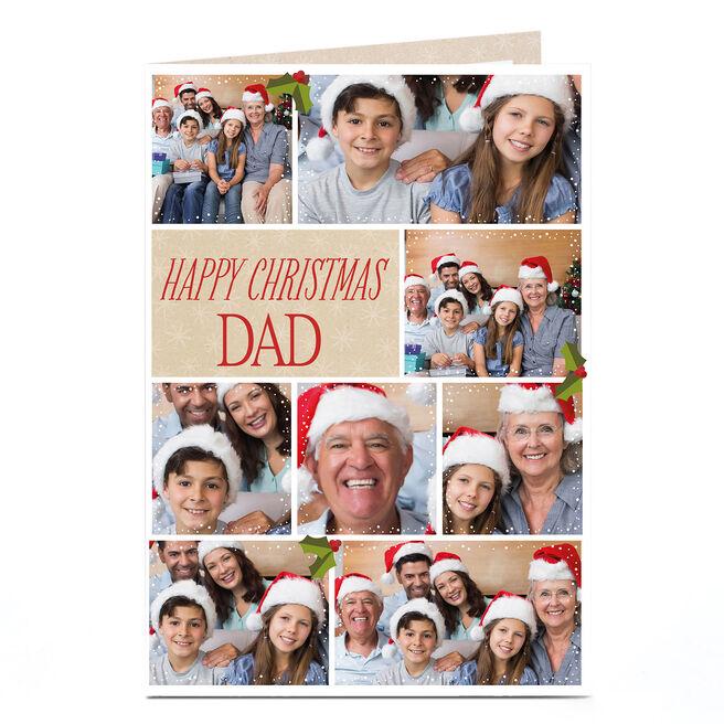Multi Photo Christmas Card - Eight Photos & Holly Berries Dad