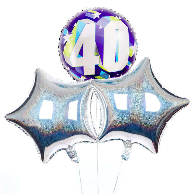 Bold 40th Birthday Balloon Bouquet - DELIVERED INFLATED!