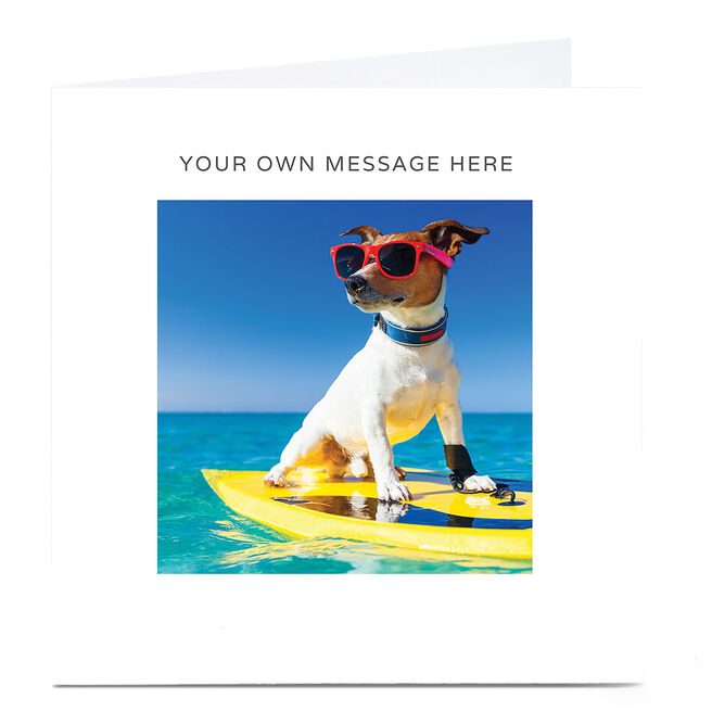 Personalised Card - Surfing Dog In Shades