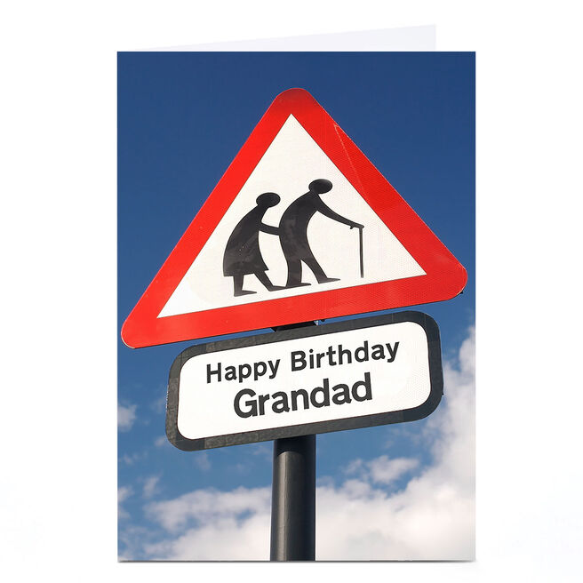 Personalised Birthday Card - Road Sign [Grandad]