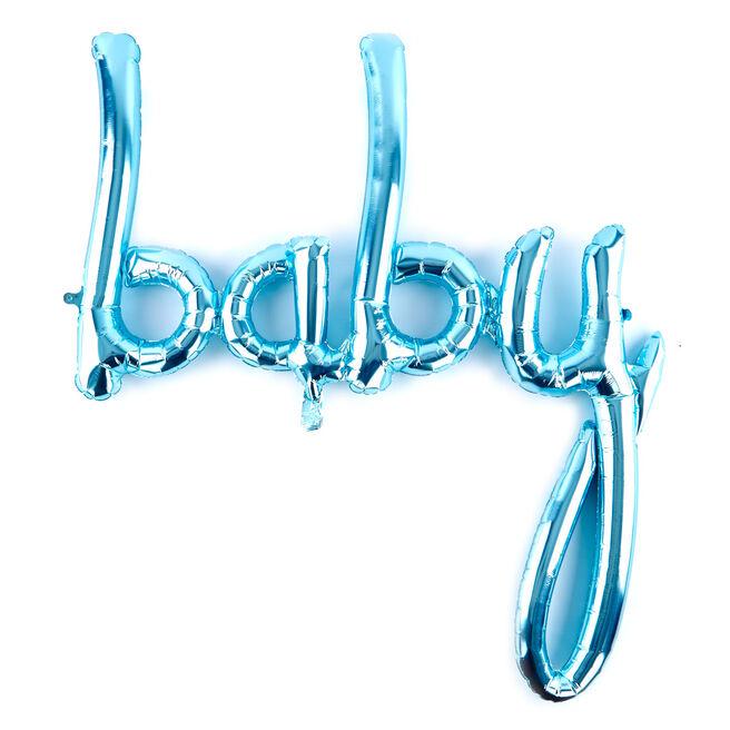 31-Inch Pastel Blue Script Balloon - Baby