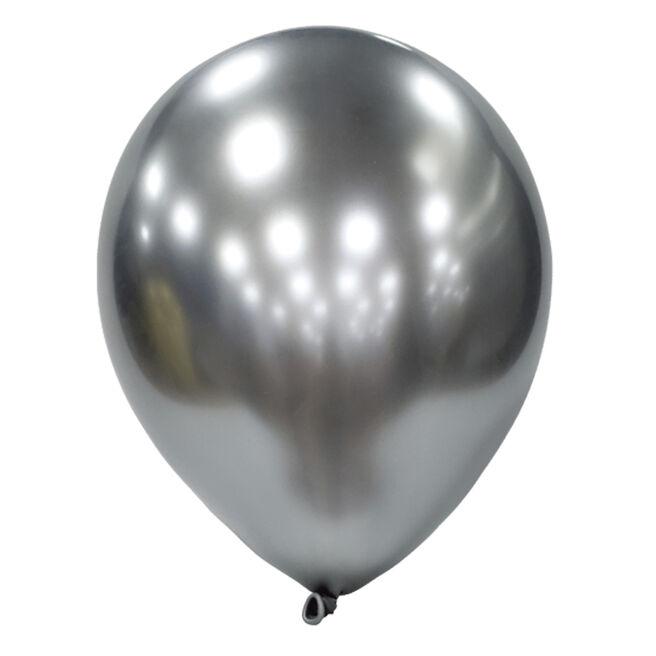 Platinum Silver Metallic Latex Balloons - Pack Of 12