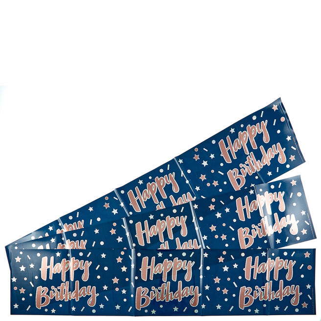 Holographic Blue Happy Birthday Party Banners - Pack Of 3