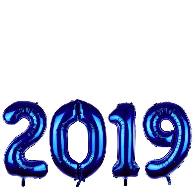 Giant 2019 Blue New Year Balloon Pack (Deflated)