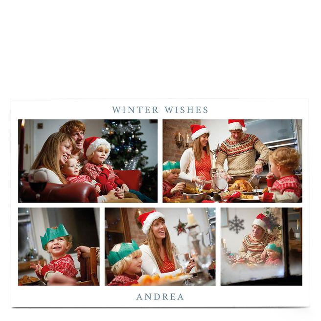 Multi Photo Christmas Card - 5 photos & Winter Wishes