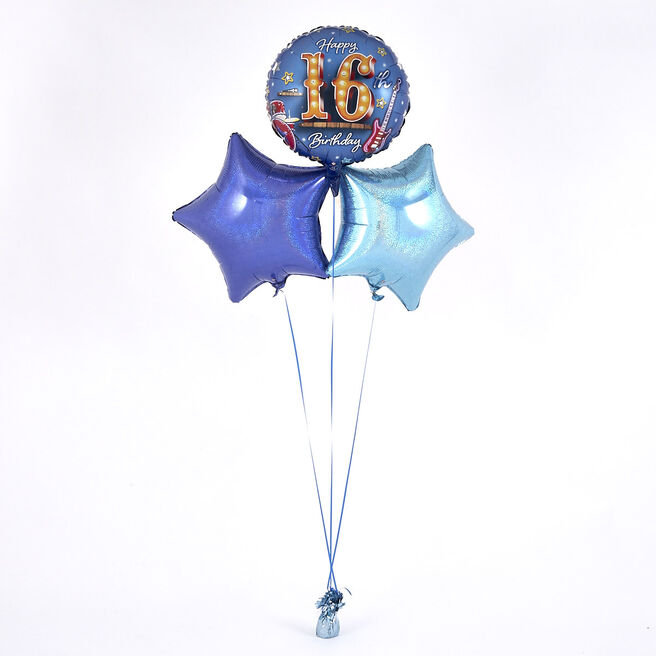 16th Birthday Rock Star Blue Balloon Bouquet - DELIVERED INFLATED!