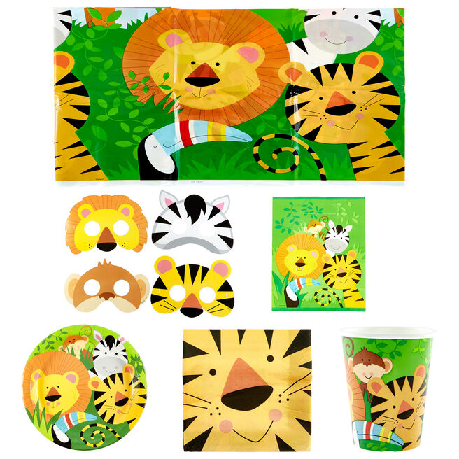 Animal Jungle Party Tableware & Decorations Bundle - 97 Pieces