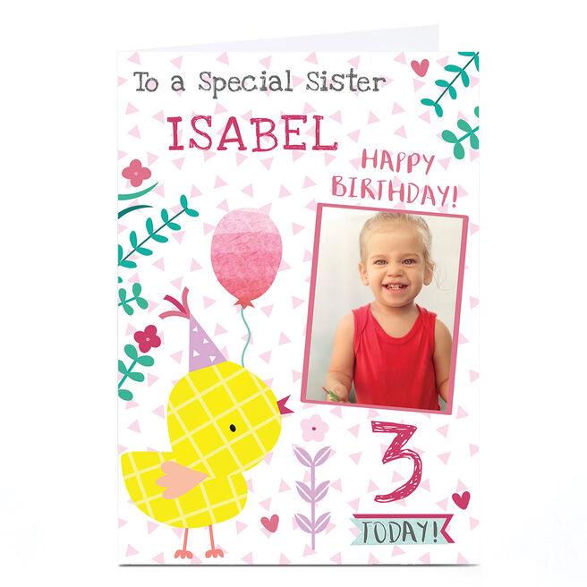 Photo Juniper & Rose Birthday Card - Yellow Chick