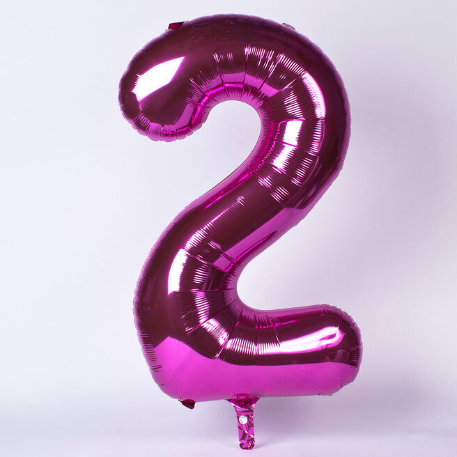 Pink Number 2 Giant Foil Helium Balloon INFLATED