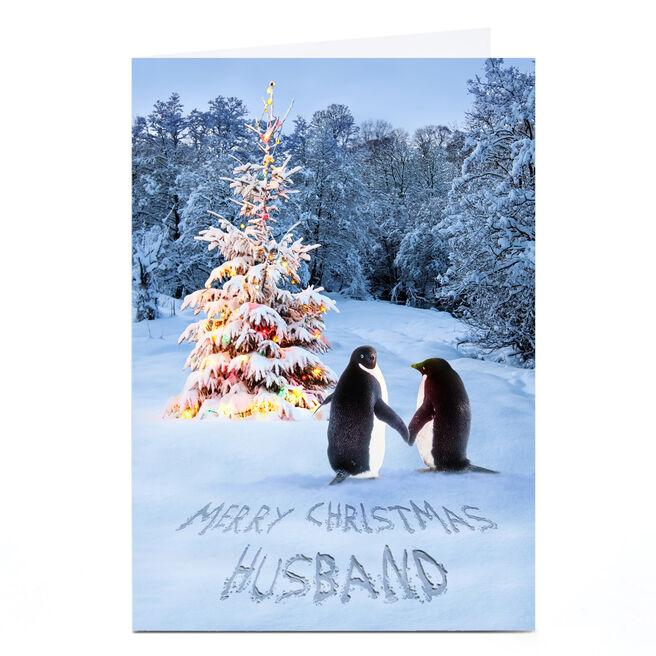 Personalised Christmas Card - Penguin Couple Husband