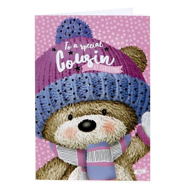 Hugs Bear Christmas Card - Special Cousin
