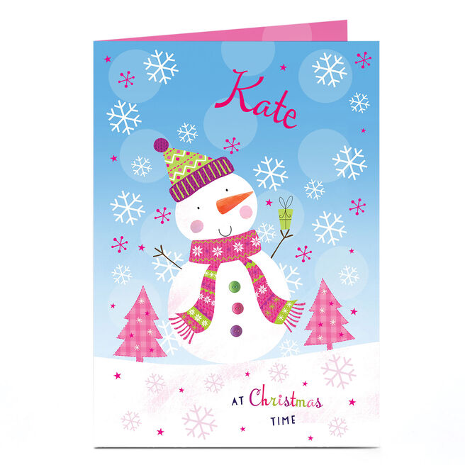 Personalised Christmas Card - Pink Snowman