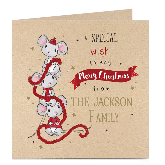 Personalised Christmas Card - Three Festive Mice With Tinsel