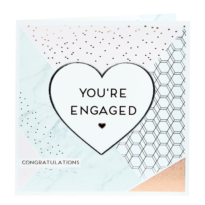 Platinum Collection Engagement Card - Geometric Marble