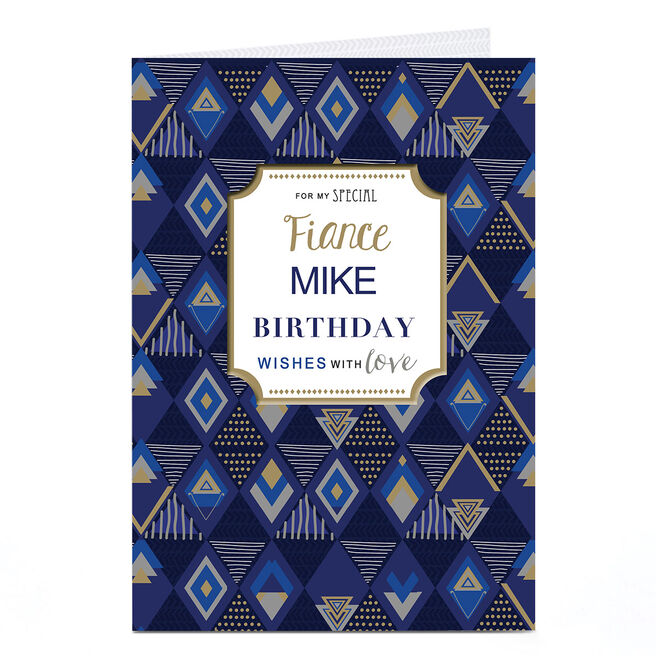 Personalised Birthday Card - Blue & Gold Pattern, Fiance