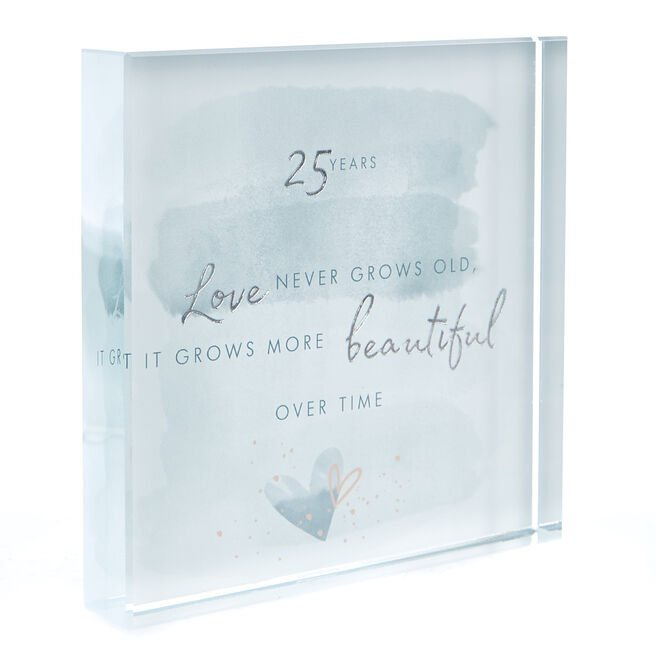 Perfect Together Glass Keepsake - 25th Anniversary