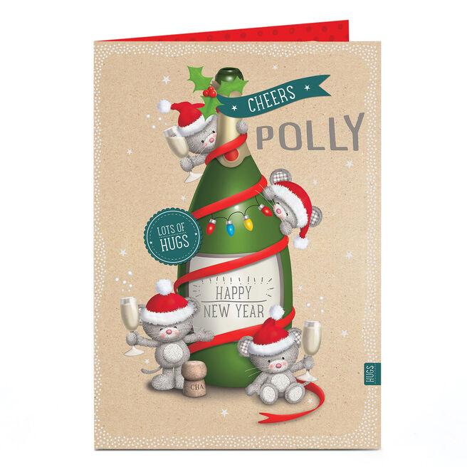 Personalised Hugs Bear Christmas Card - Happy New Year