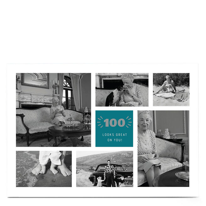 Photo 100th Birthday Card - Looks Great On You