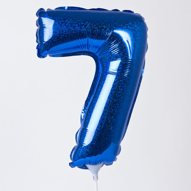 Holographic Blue Number 7 Balloon On A Stick