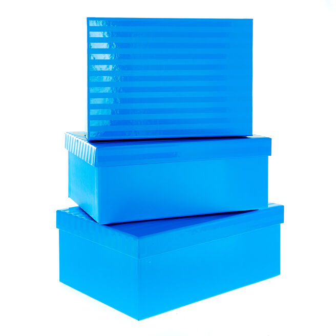 Blue Striped Gift Boxes - Set Of 3