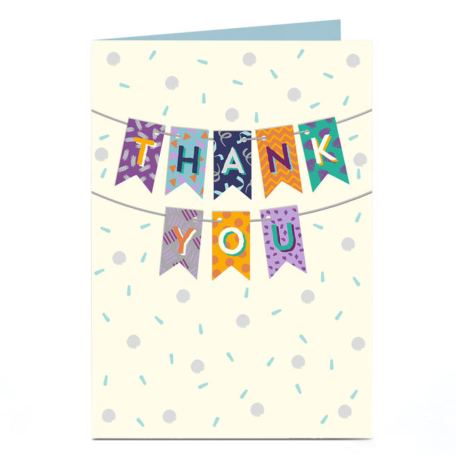 Personalised Thank You Card - Colourful Bunting