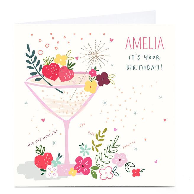 Personalised Nikki Upsher Birthday Card - Pop Fizz Sparkle